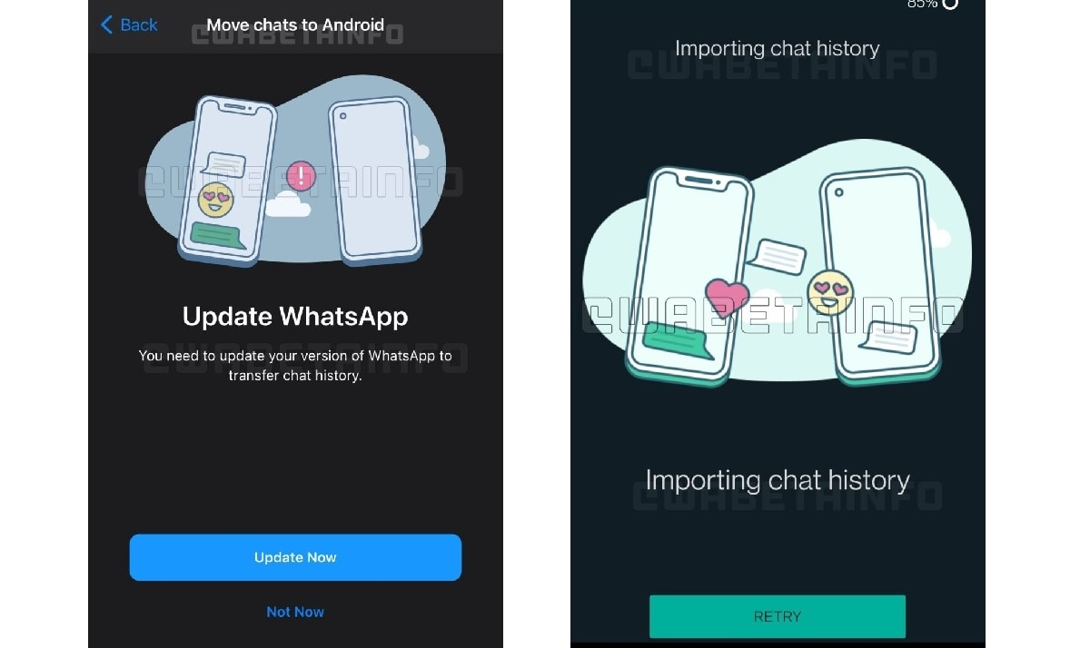 WhatsApp chat migration tool in works. (Image: WABetaInfo)