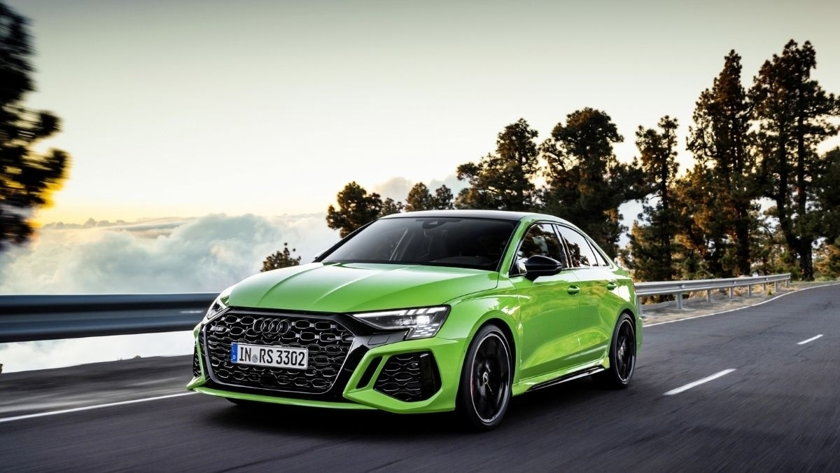 Up front, the 2022 Audi RS 3 features wide RS bumper, and redesigned Singleframe with its distinctive honeycomb grille.
