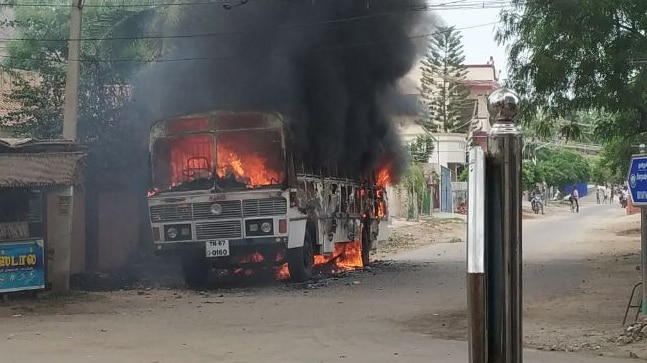 A police bus was set ablaze in Tuticorin where protesters and police clashed yesterday