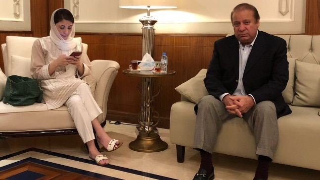 Pakistan's former PM Nawaz Sharif and Maryam N Sharif at the Abu Dhabi Airport