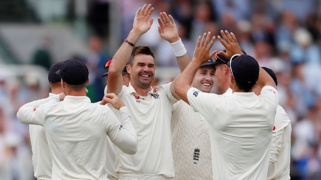 India vs England, 2nd Test Day 2: James Anderson celebrates the wicket of Murali Vijay (Reuters Photo)