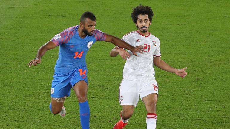2019 AFC Asian Cup, India vs Thailand Football Match: Khalfan Mubarak Al Shamsi put the hosts ahead with his first international goal in the first-half against India (AFC Photo)