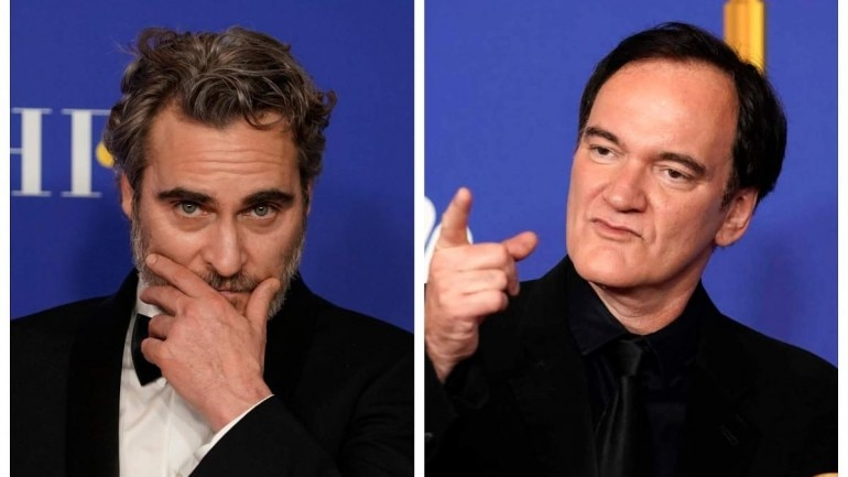 Golden Globe winners Joaquin Phoenix (L) and Quentin Tarantino at the 77th Golden Globe Awards. Photos: Reuters