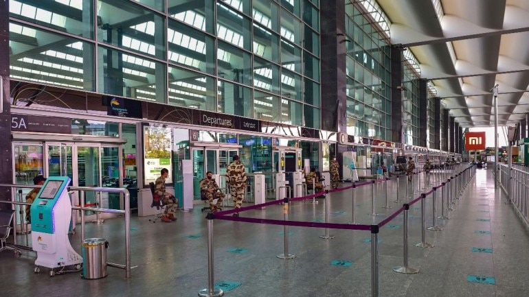 Stickers pasted on floor of Bengaluru's Kempegowda International Airport to maintain social distancing