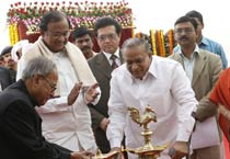 Pranab lays founadation stone of 'Rajaswa Bhawan'