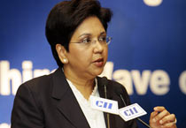 Indra K. Nooyi at a business meet in New Delhi