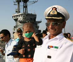 Young cancer patients visit INS Vikrant