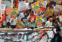 Pro-LTTE rally against Rajapaksa