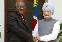Namibian president arrives in India