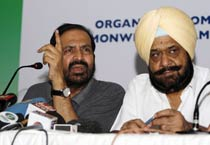 Kalmadi addresses the media