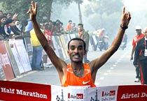 Merga wins Delhi half marathon
