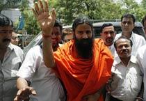 Baba Ramdev arrives in Bhopal