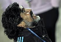 Maradona in action