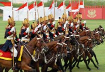Army chief reviews mounted cavalry parade