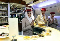 Emirates Airlines' flight lands at T3