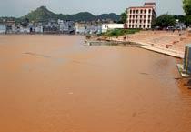 Heavy rains fill dry Pushkar Lake