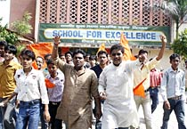 ABVP activists protest in Bhopal