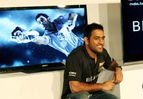 Dhoni during the launch of Sony Bravia