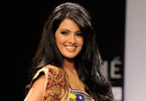 Geeta Basra walks the ramp at Lakme Fashion Week