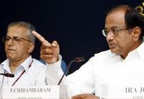 P Chidambaram at a press conference