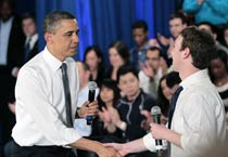 Barack Obama visits Facebook headquarters