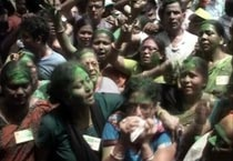 Trinamool workers celebrate in Kolkata