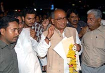 Digvijay Singh arrives in Bhopal