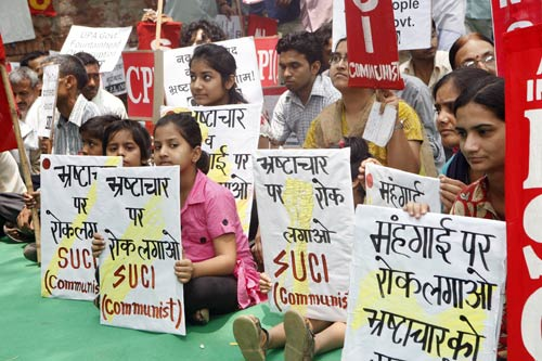 Left-front stages dharna at Jantar Mantar