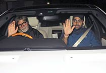 Big B at the special screening of Singham