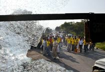 NCP protests attack on Sharad Pawar