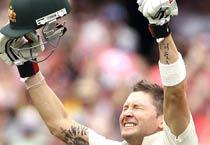 Australia cricket captain Michael Clarke celebrates his triple century.