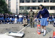 Fire fighting drill in West Bengal school