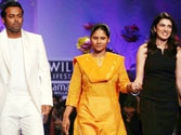 Leander Paes walks the ramp with Alice.