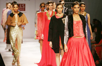 Models walk the ramp on Day 4 of Wills Lifestyle india Fashion Wee.