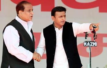 Uttar Pradesh Chief Minister Akhilesh Yadav with Azam Khan