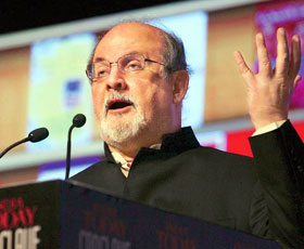 Salman Rushdie at the India Today Conclave 2012 in New Delhi.