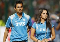 Pakistani cricketer Shoaib Malik and his wife Sania Mirza