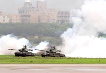 US-made M41D tanks during the annual Han Kung military exercises in Taiwan.