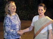 Hillary Clinton with Sonia Gandhi