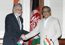 Minister for Foreign Affairs of the Islamic Republic of Afghanistan Zalmai Rassoul and External Affair Minister S.M Krishna during a joint press conference in New Delhi on Tuesday, May 1, 2012.