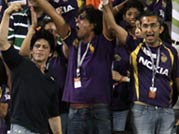 Kolkata Knight Riders' owner Shah Rukh Khan (in black tee shirt)