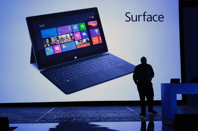 Microsoft CEO Steve Ballmer unveils the Surface.