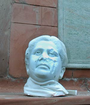 The damaged statues of former UP CM Mayawati