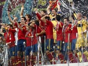 Spanish players after their final victory against Italy during Euro 2012 soccer championship