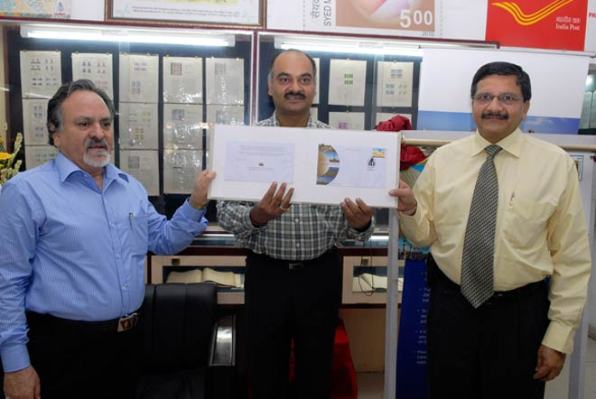 The Postal Department released a special cover on 100 million barrel production from Rajasthan's Mangala oil fields on Wednesday, August 29, 2012.