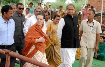 upa chairperson sonia gandhi, flood-affected areas in jaipur, relief camps