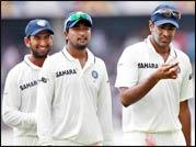 India cricketers Ravichandran Ashwin (right), Pragyan Ojha (centre), and Cheteshwar Pujara