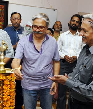Thinker Ajay Chopra at painting exhibition