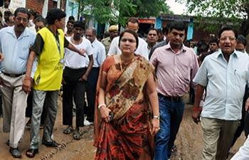 Rajasthan ministers visit rain-affected area.