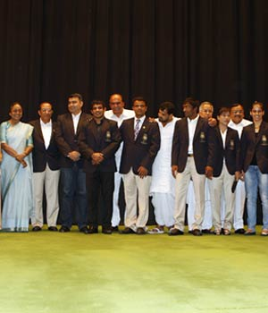 Olympic medal winners during a function at Balayogi Auditorium, Parliament Library Building in New Delhi on Friday, August 17, 2012.